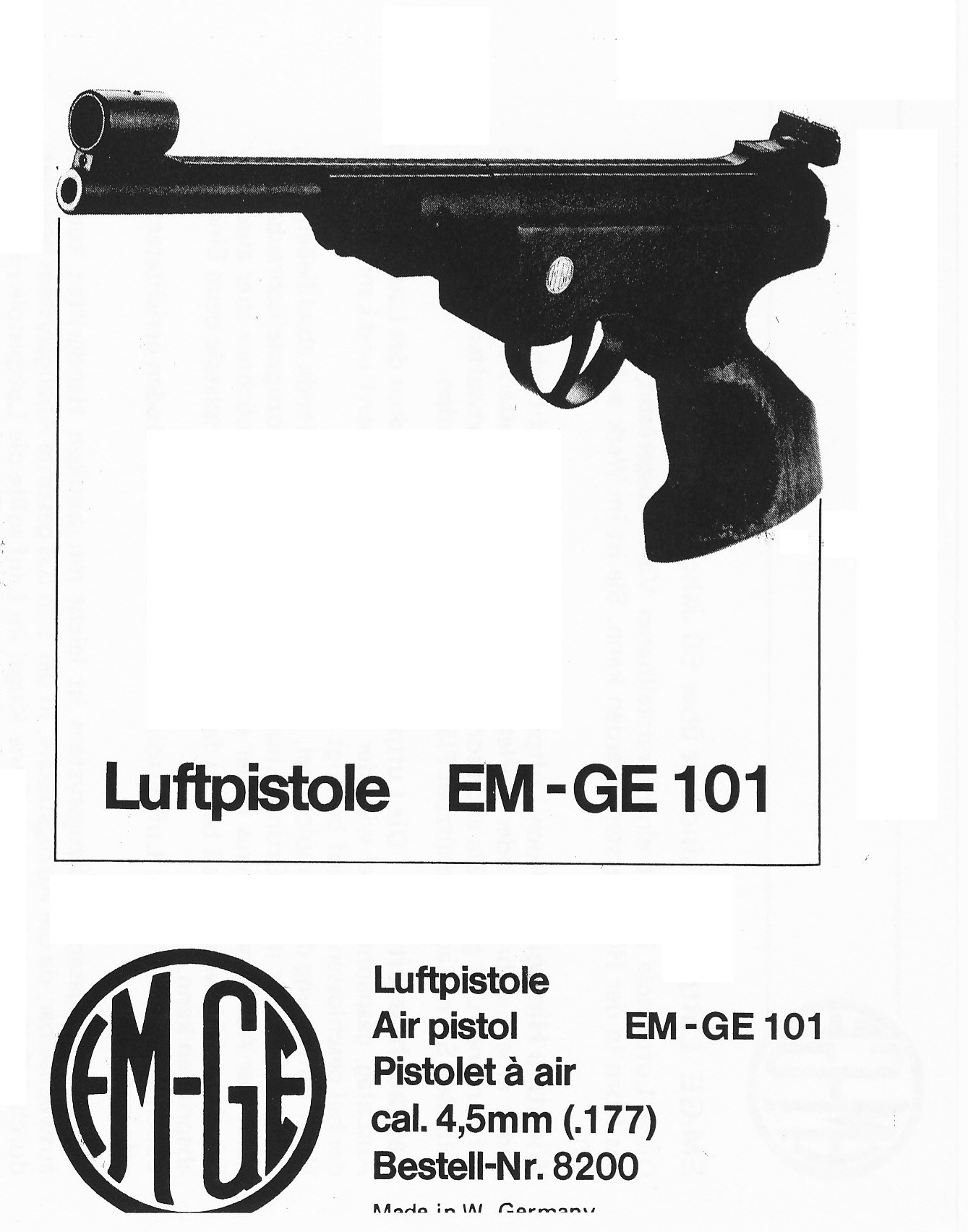 E101OM DOWNLOAD EM-GE Owners manual for the model 101