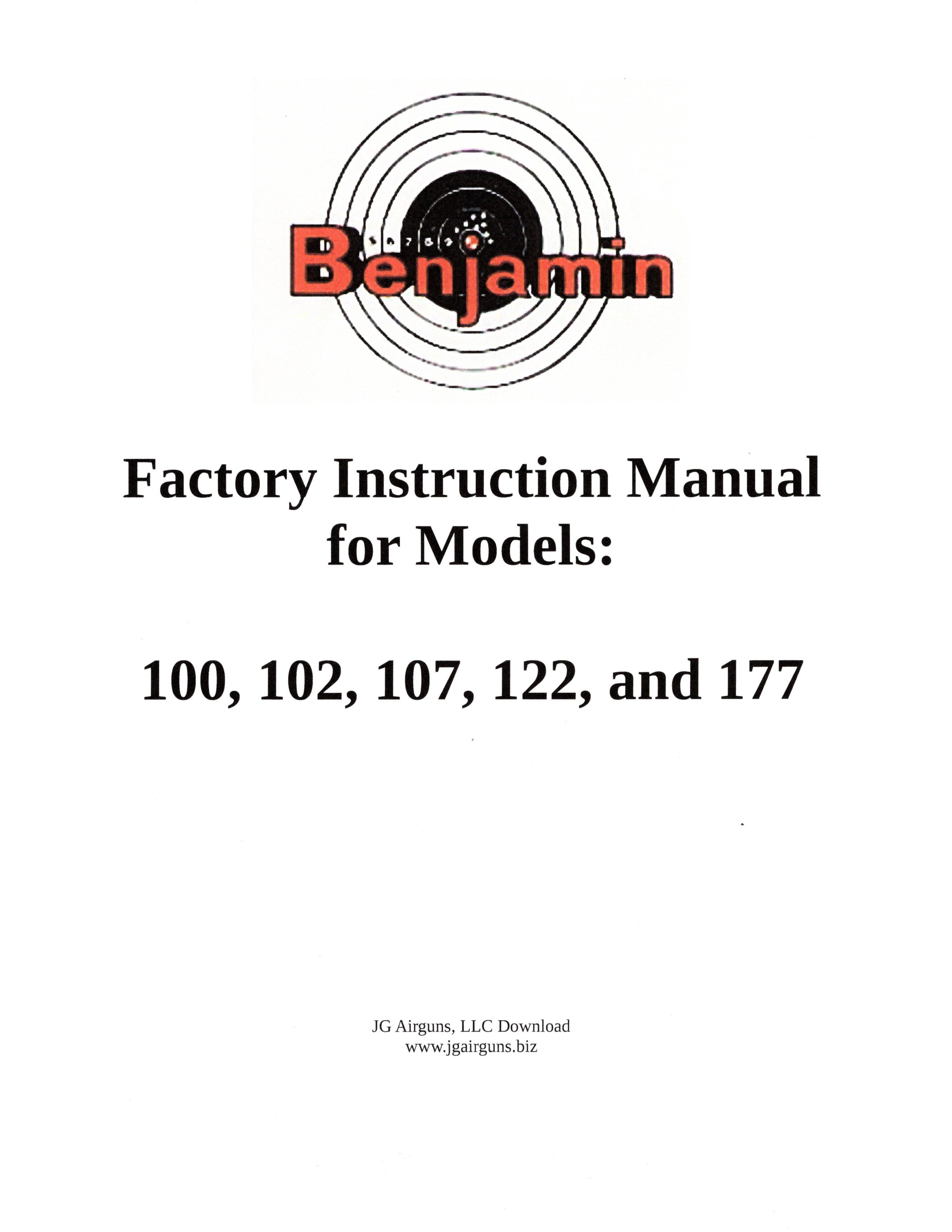 BEN100IS-1 DOWNLOAD of Benjamin Instruction Manual for models 100 Series